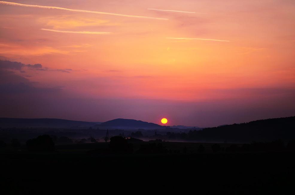 Fotografieren bei Nebel - Sonnenuntergang