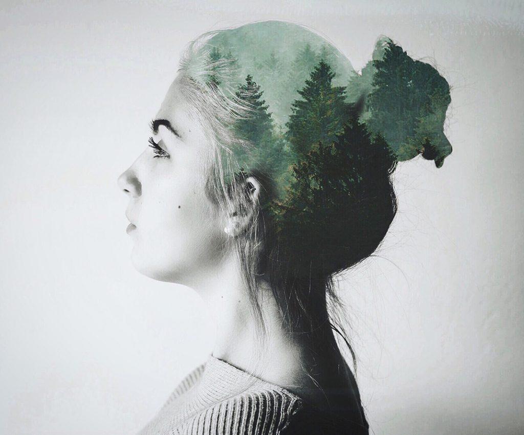 Double Exposure - Wald im Haar von Sophia