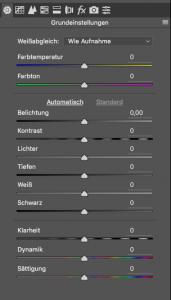 Beispielbild: Photoshop RAW-Einstellungen, Screenshot aus Photoshop